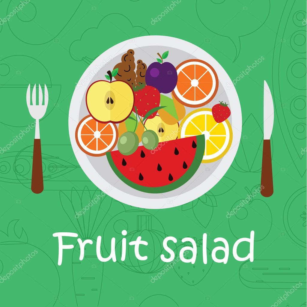 Früchte-Hintergrund in flache. Farbige Vorlage zum Kochen ...