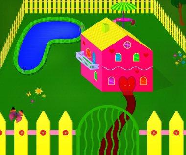 Girlish pink house