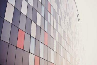 Details of Colorful Facade Made of Aluminum Panels with Windows