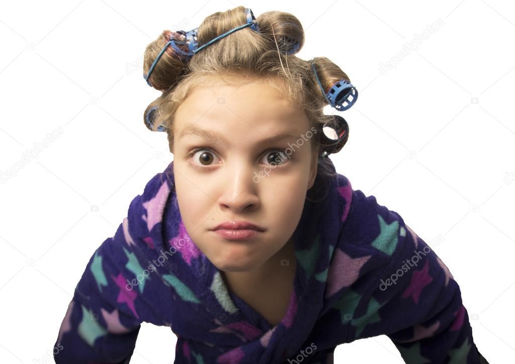 tonåring flickor spelar hemmafruar, göra själv frisyrer och smink ha kul u2014 Stockfotografi