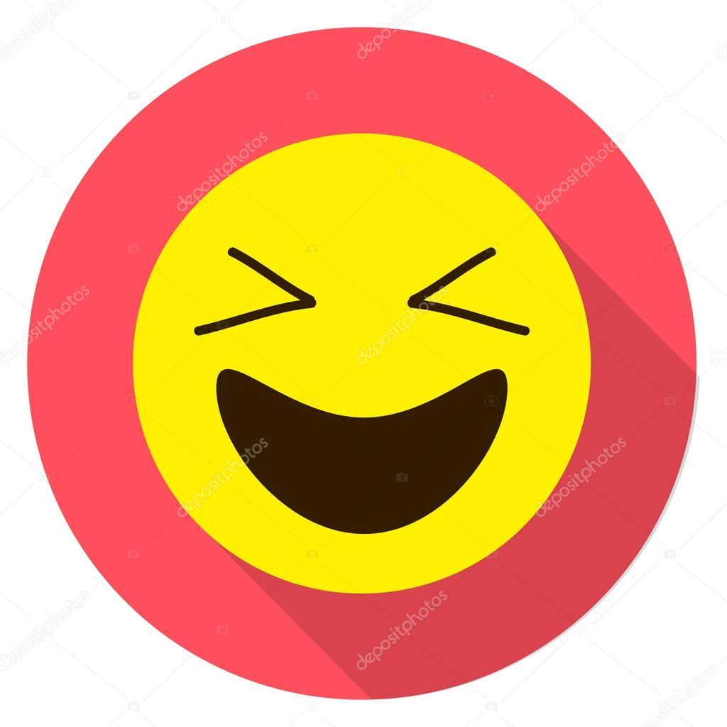 Emoticon Laughing Face Emoji Isolated Vector Illustration On White Background Longshadow