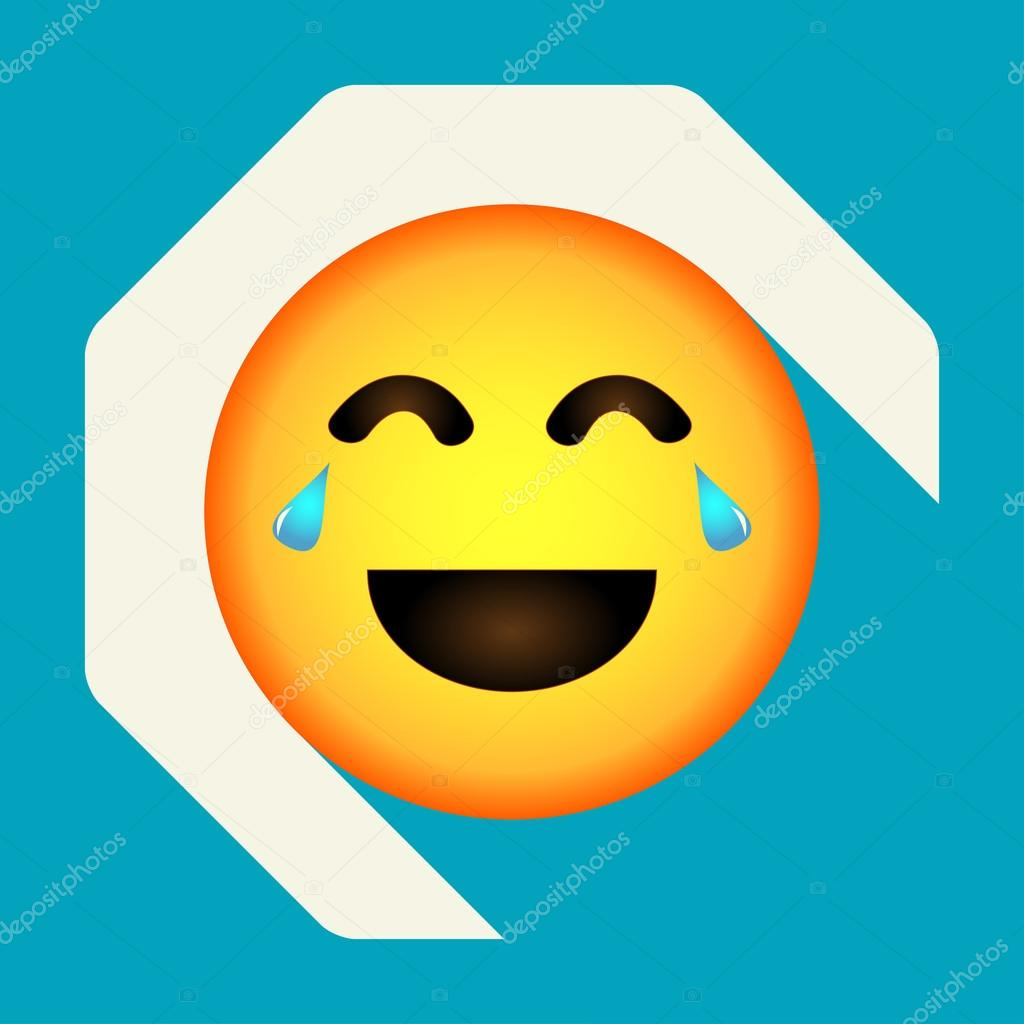 Emoticon Laughing Face Emoji Isolated Vector Illustration On Background Longshadow Icon