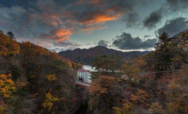 Picturesque view autumn hills in Minakami Japan stock vector