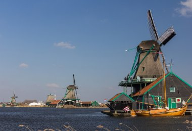 Dutch wooden windmill in Zaanse Schans