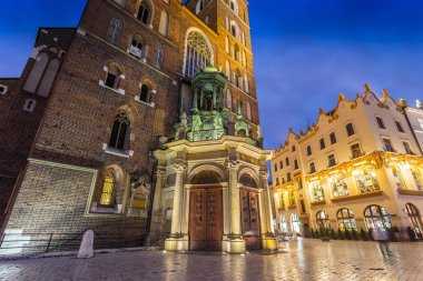 Krakow old town at night