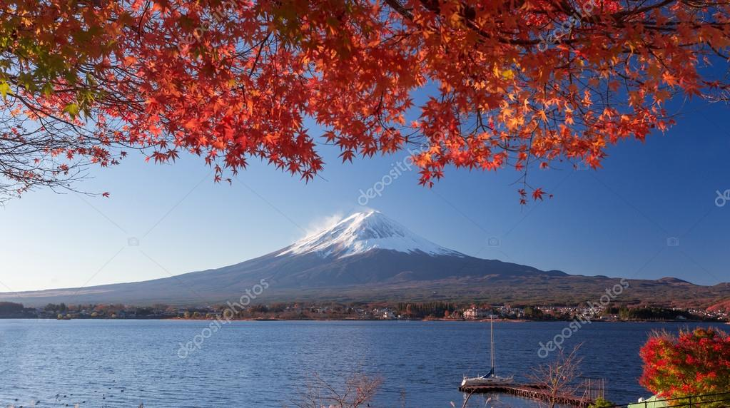 Mountain Fuji and autumn foliage