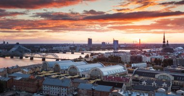 Evening panorama of Riga city