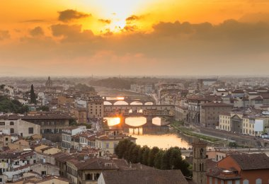 Picturesque aerial view of Florence at sunset