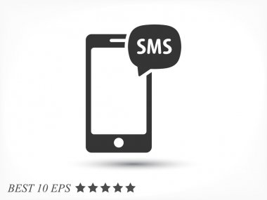 SMS message icon on mobile screen stock vector