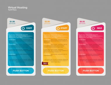 Price list, hosting plans and web boxes banners design. three tariffs. interface for the site. ui ux vector banners for web app. stock vector