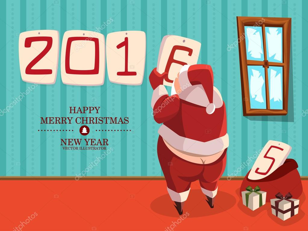 Funny Santa Claus With Bare Ass. Funny Postcard For The New Year Or  Christmas. Holiday Greeting Cards Design. Shift Of The Year. Santa Changes  The Calendar.
