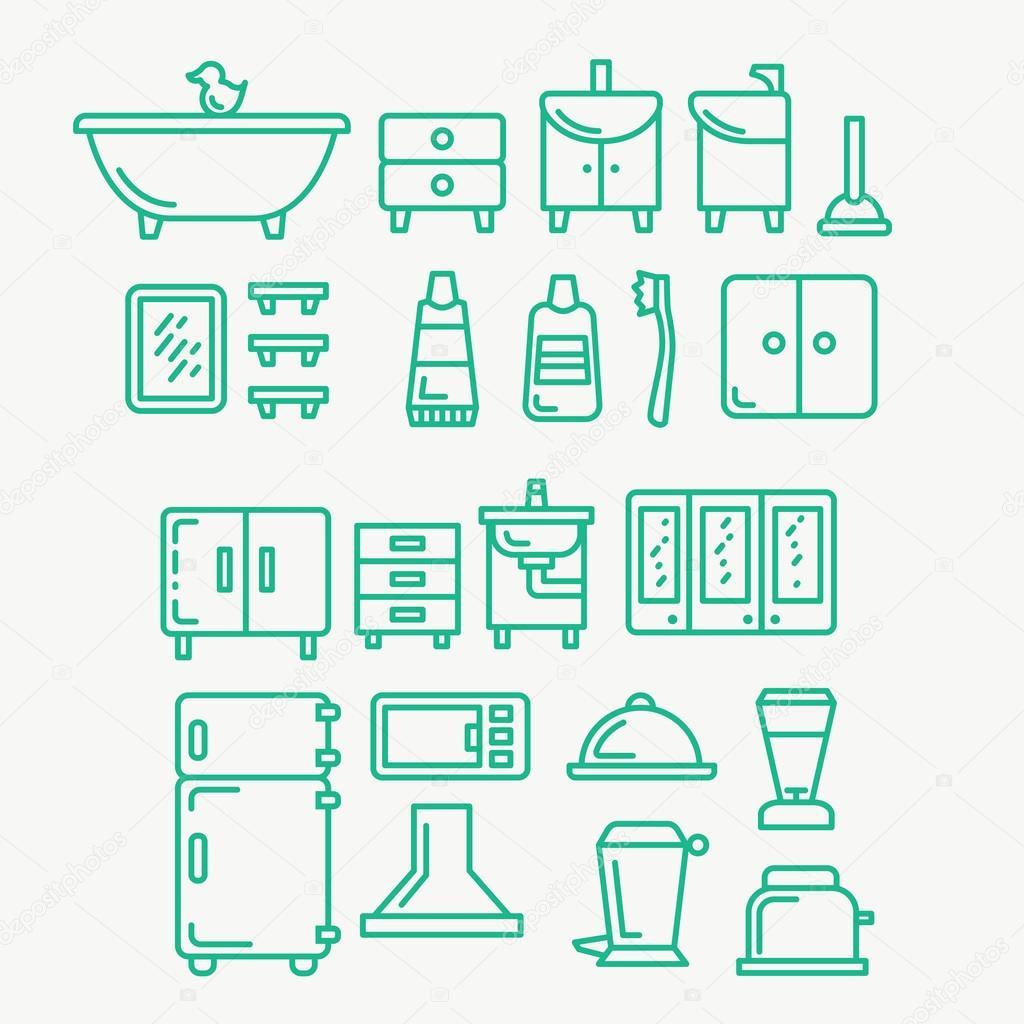overzicht pictogrammen op thema badkamer — Stockvector © andrei ...