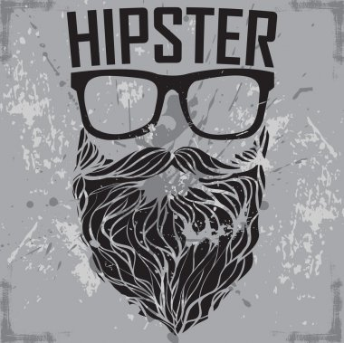 HIPSTER sunglasses and beard poster