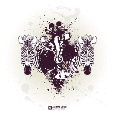 Giraffe and zebra head for poster