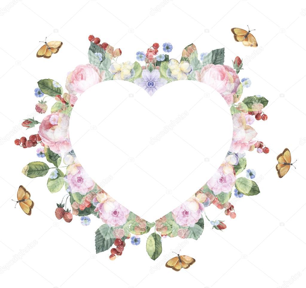 Цветы ягоды акварель