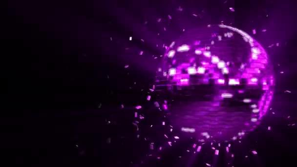 Abstraktní tvořili animované pozadí: disco koule rotující záře fialová růžová rose složeno z kostek krystaly s šplhat pruhy světla a střepy krystalů, otáčení kolem a odrážející paprsky