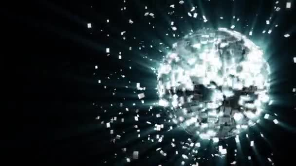 Abstraktní tvořili animované pozadí: pulzující a spinning stříbrno bílá záře disco koule složené z kostek krystaly s šplhat pruhy světla, úlomky krystalů rotujících kolem, odrážející paprsky