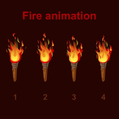 Torch fire animation sprites, flame video frames