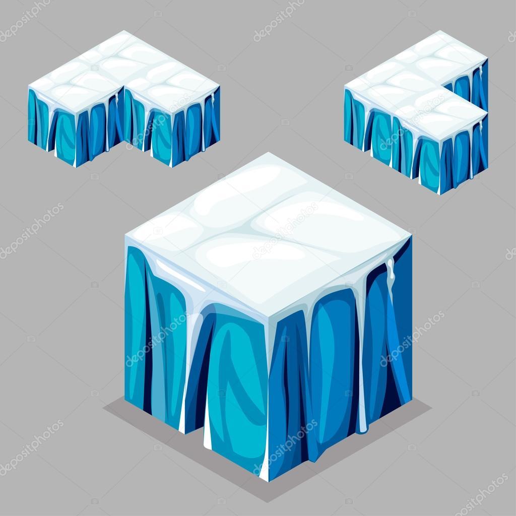 Game block Isometric Cubes,  iceberg glacier
