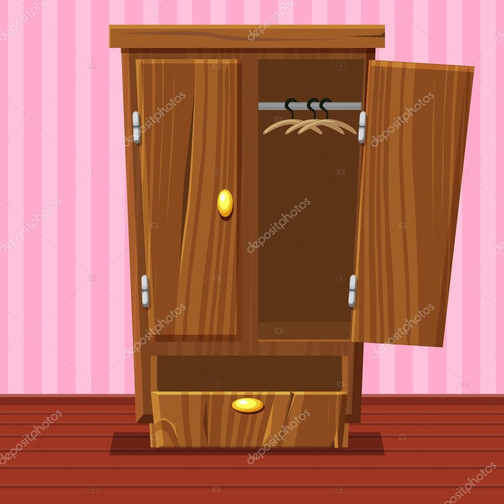guardarropa abierto vacío de la historieta, muebles madera — Archivo ...
