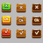 Dřevěné čtvercové tlačítka pro hru, Ok, ano, zavřete, kopie jpg