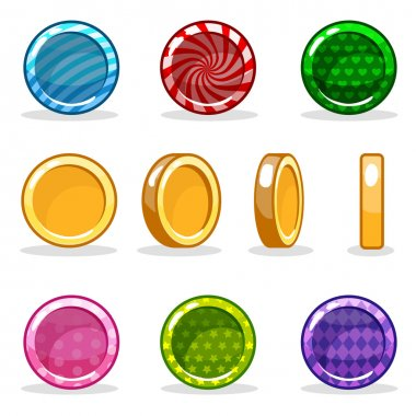 Cartoon colorful glossy Coin set, vector game turn-based animation. jpg copy stock vector