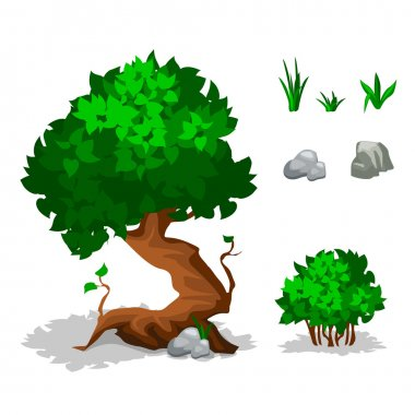 Illustration. Set of cartoon green plants. Trees, bushes, grass and stone,  jpg copy stock vector