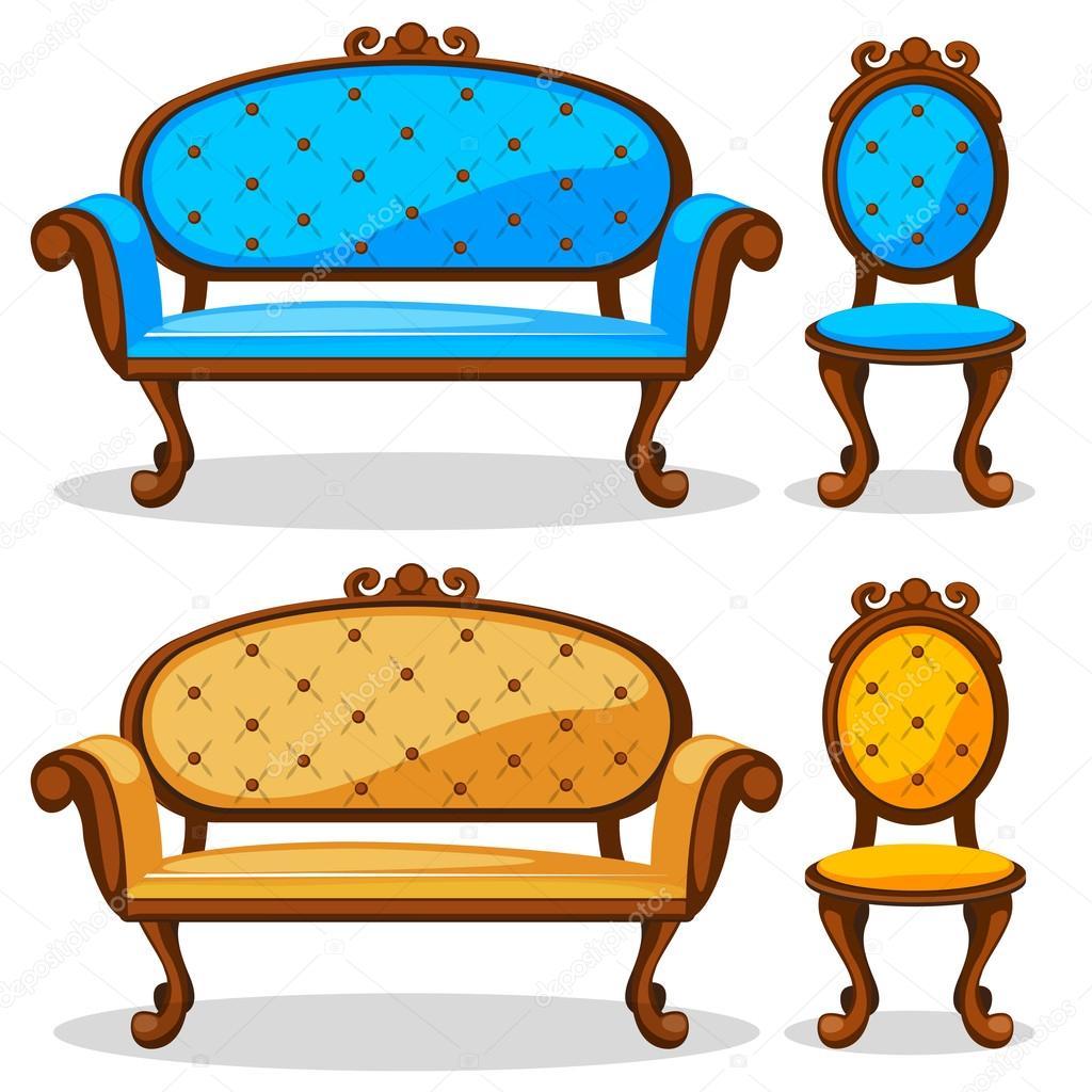 Dibujos animados de sof y silla retro colorida vector for Mueble animado