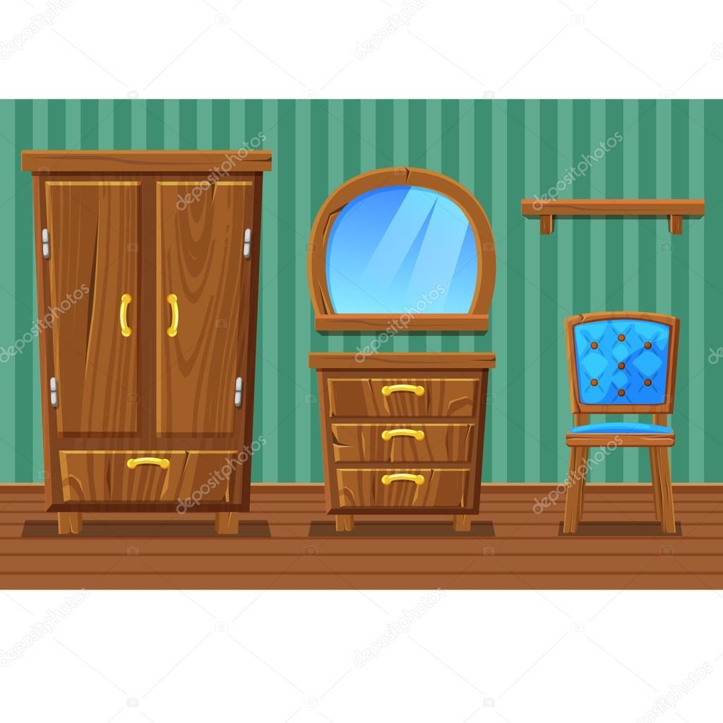 Set cartoon grappig houten meubels, woonkamer — Stockvector ...