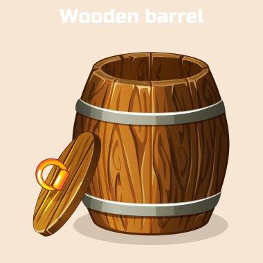 cartoon open wooden barrel , game elements