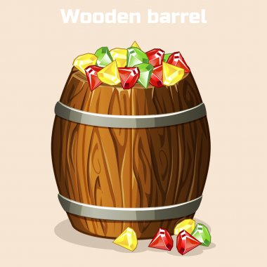 Cartoon wooden barrel full of colorful gems, game elements