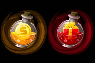 Set of isolated elixir bottles with gift and coin icons. Illustration of glass jars with potions for the game. icon