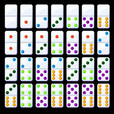 Vector set of isolated colored classic dominoes. Collection of bright domino chips. icon