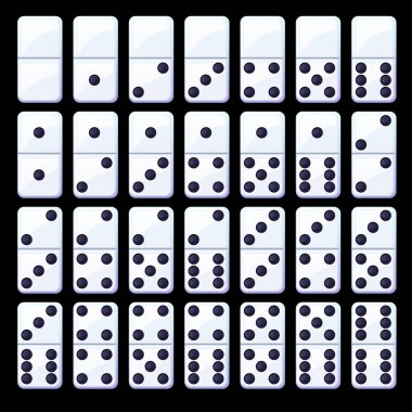 Vector set of isolated black and white classic dominoes. Collection of simple domino chips. icon