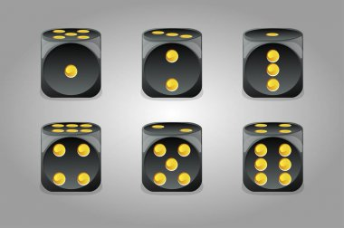 Vector set of isolated gaming black dice. A collection of dice to play from different sides. icon