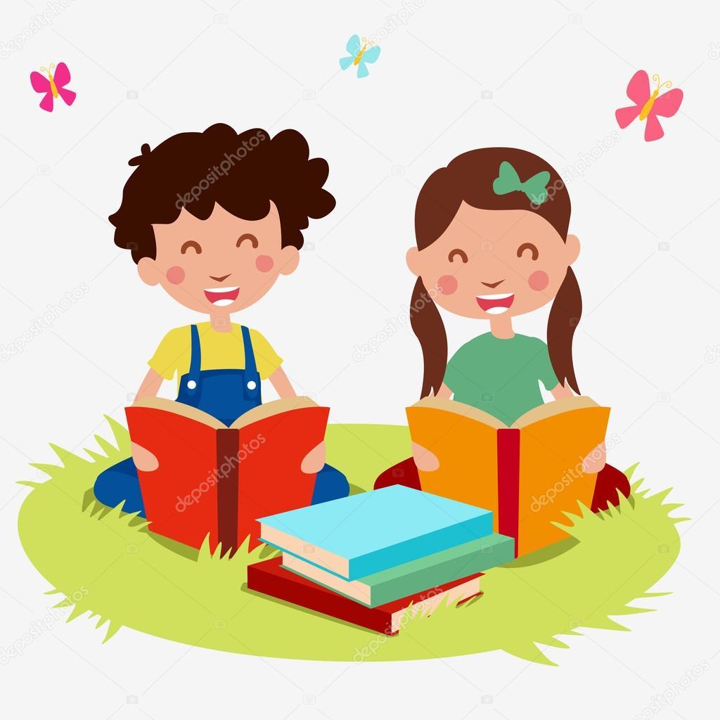 Dessin Anime Enfants Set Lire Livre Image Vectorielle