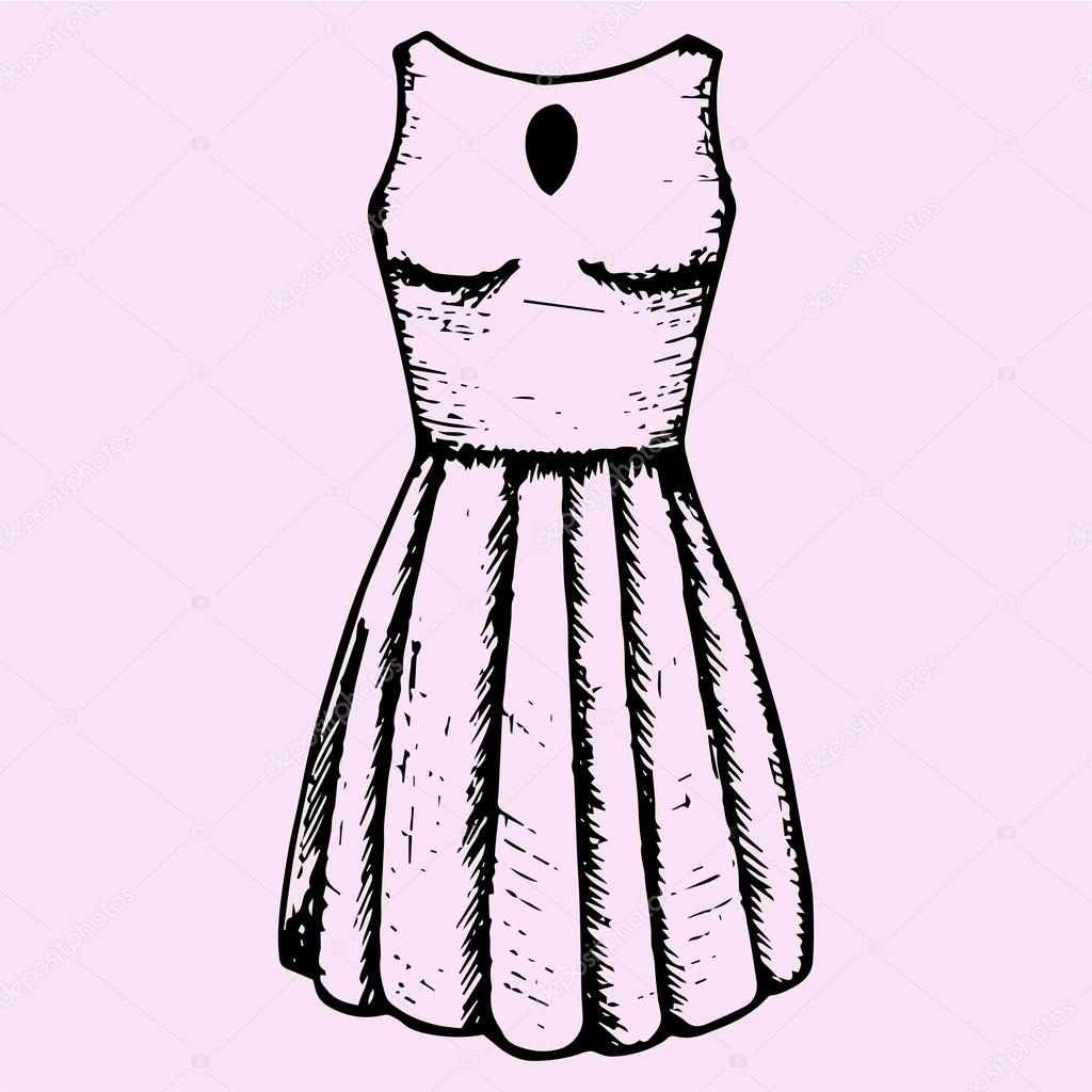 5056712011031 Bayan elbise modelleri, Bayan yazlık elbise, stil doodle, kroki çizimi,  elle çizilmiş, vektör — turchenko3560.gmail.com - Vektör