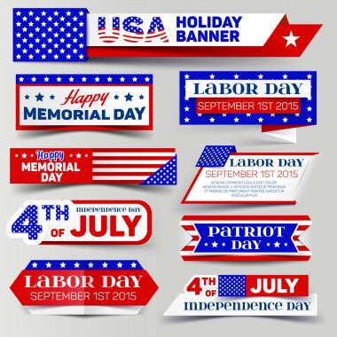 Set of USA holiday banner. 4th of July, Memorial day, Labor day, Patriot day