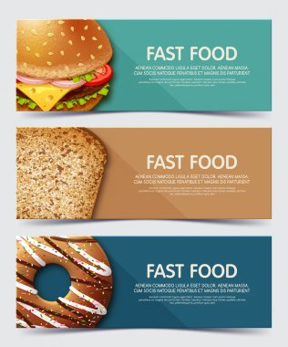 Set of illustration concept banner for fast food. Web banners and printed materials.