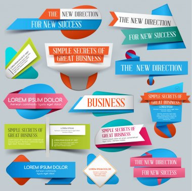 Set of Website Banner. Vector illustration. Sale. Discount origami Banners. New offer