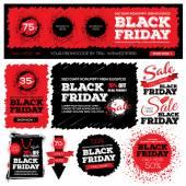 Fotografie Set of black friday sale. Black friday banner. Vector illustratio