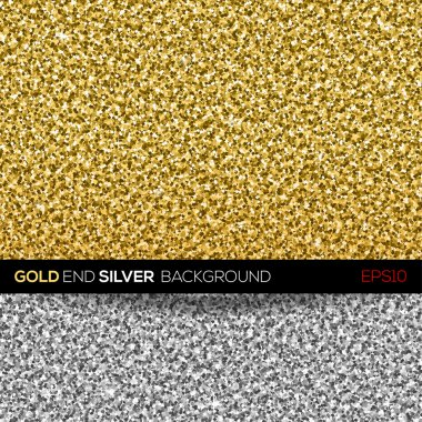 Gold and silver glitter texture. Vector background.