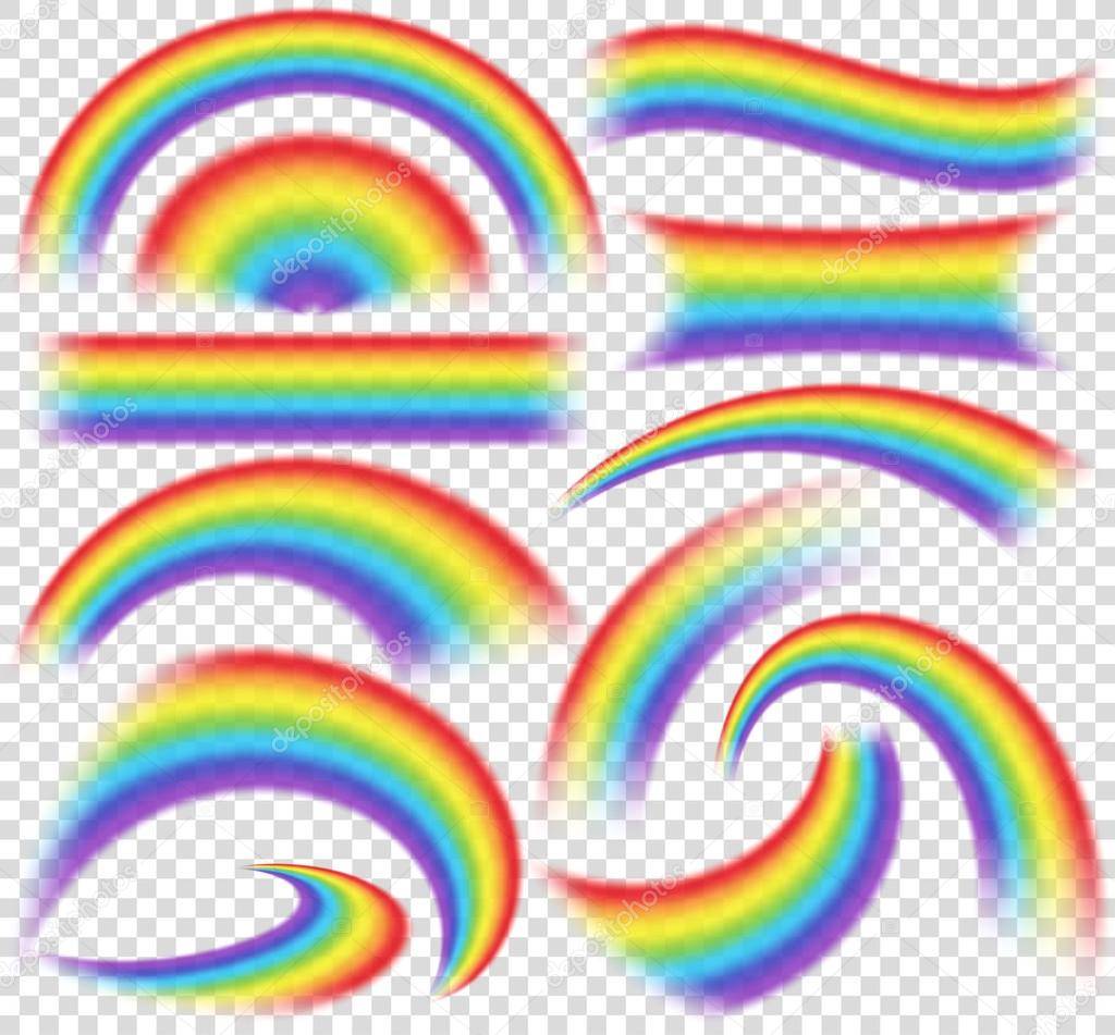 Rainbows in different shape realistic set on transparent background. Isolated vector illustration
