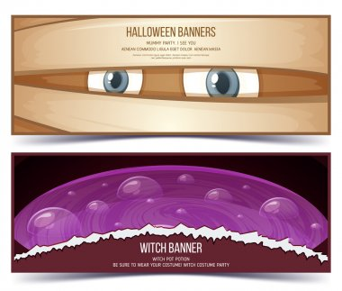 Happy halloween banner. Banner set design.