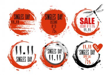 Singles Day sale badges. Chinese Brush calligraphy sale Tag. Special Sale Vector Illustration Of Chinese Holiday of 11 November