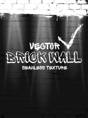 Brick wall seamless vector pattern. Black grunge brick wall background