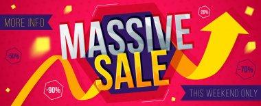 Massive sale banner. Sale and discounts. Vector illustration
