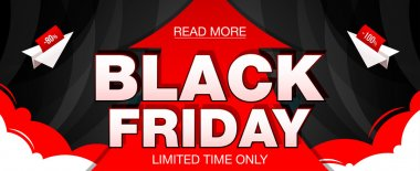 Black Friday sale banner with red arrow and paper airplanes. Black Friday web banner. Vector illustration