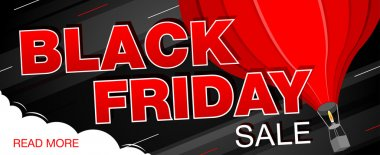 Black Friday sale banner with  air balloon. Black Friday web banner. Vector illustration