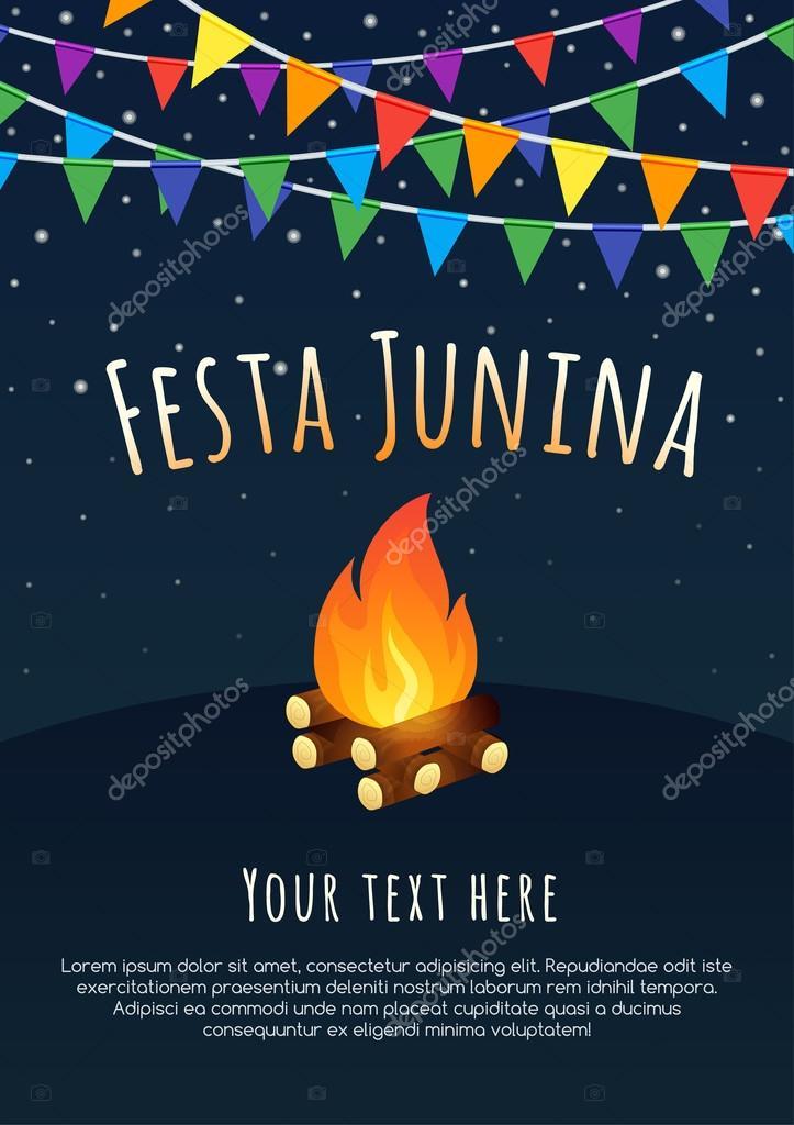 Festa Junina poster. Brazilian june party. Latin American holiday background.